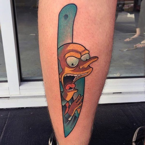 Knife Simpsons Mens Tattoos