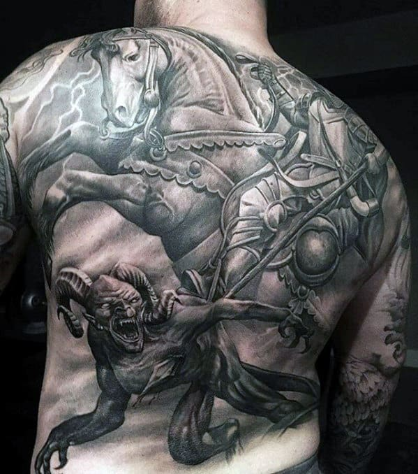 Knight Battle With Demon Guys Unbelievable Back Tattoos