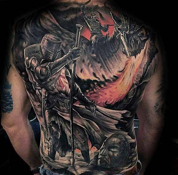 Knight Extreme Guys Battle Scene Full Back Tattoo Design Ideas