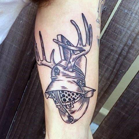 Knight Helemet Antler Mens Inner Bicep Tattoos