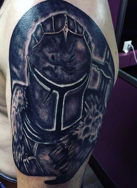Knight Helmet Tattoo On Mens Arm
