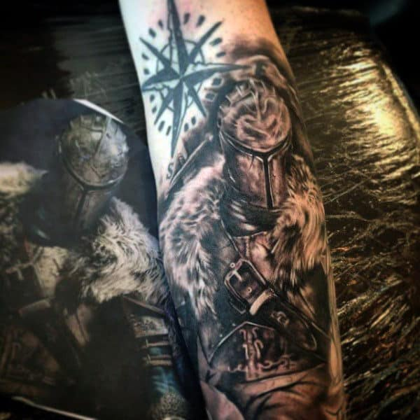 Knight On Horse Tattoo For Males On Forearm