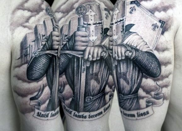 top 80 best knight tattoo designs for men brave ideas rh nextluxury com templar tattoo sleeve tattoo templar knights