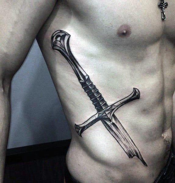 Knight Sword Male Tattoo Designs On Ribs