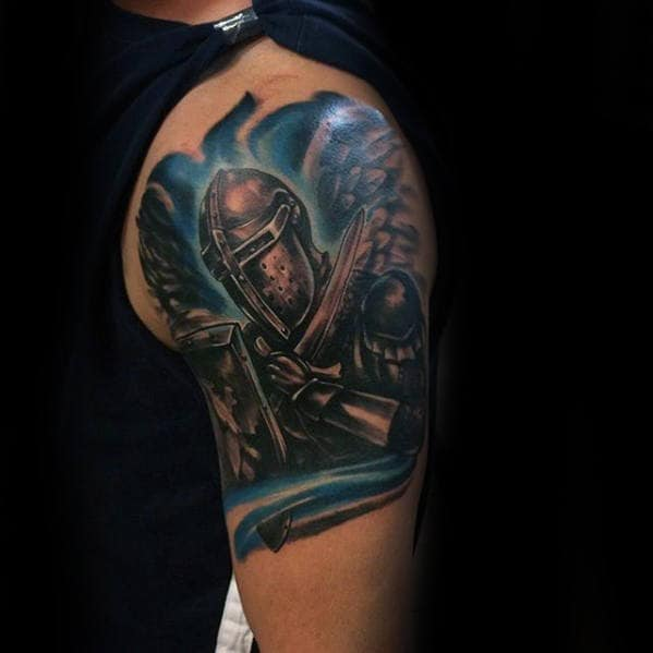 Knight Thin Blue Line Guys Arm Tattoos