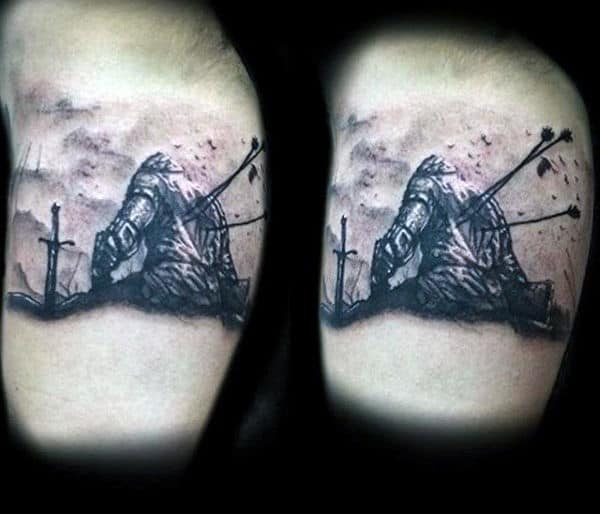 Knight With Arrows In Back Tattoo For Men