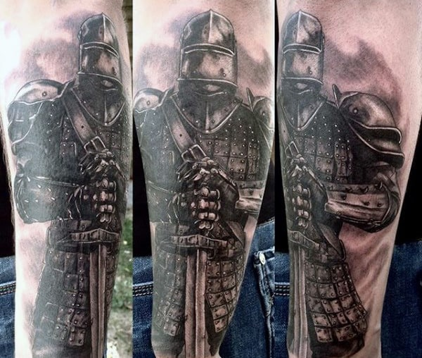 Knight With Sword Tattoo For Men