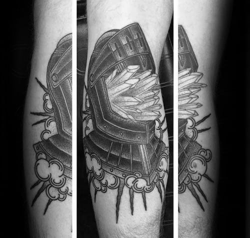 Knights Helmet With Crystals Guys Leg Tattoo