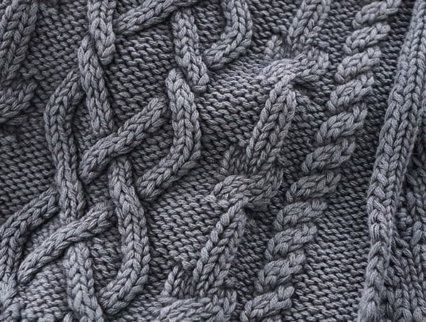 Knit Detail Kinross Cashmere Mens Dark Navy Chunky Cotton Cable Scarves