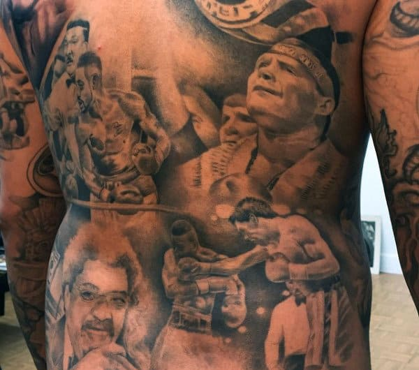 Knockout Boxing Punch Tattoos On Back