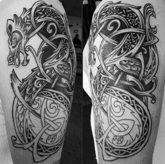 Knots Guys Dragon Celtic Tattoo Design On Arms
