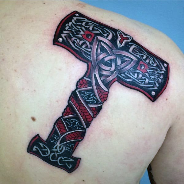 Knots Mjolnir Mens Red And Black Ink Shoulder Back Tattoos