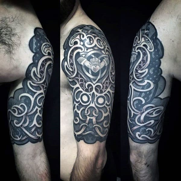 Knots Tribal Arm Half Sleeve Tattoos On Guy With Black Ink Design