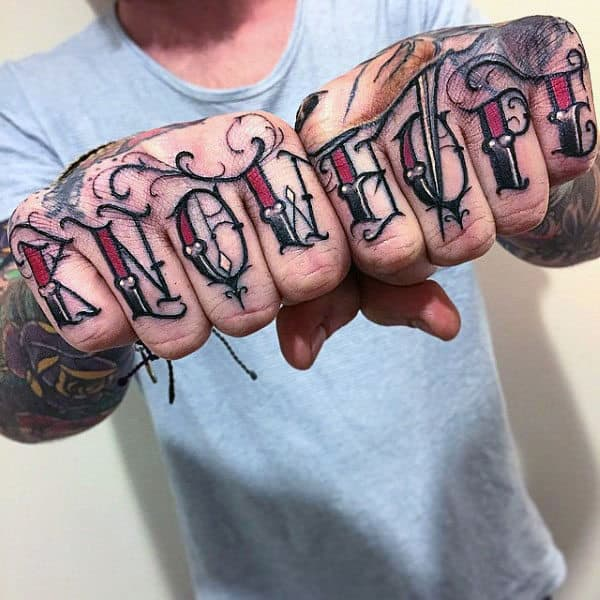 Know Hope Mens Old School Lettering Knuckles Tattoo