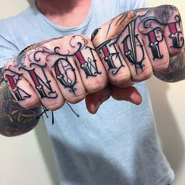 Know Hope Red Knuckle Lettering Font Tattoo For Men