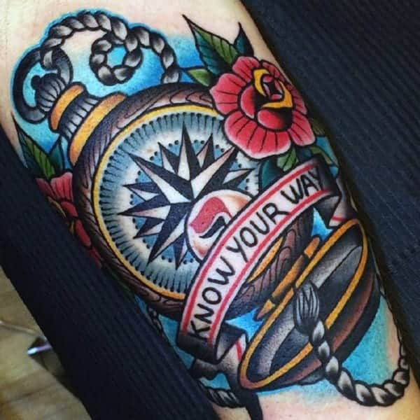 know-your-way-traditional-mens-pocket-compass-arm-tattoo-designs