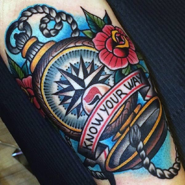 Know Your Way Traditional Mens Pocket Compass Arm Tattoo Designs