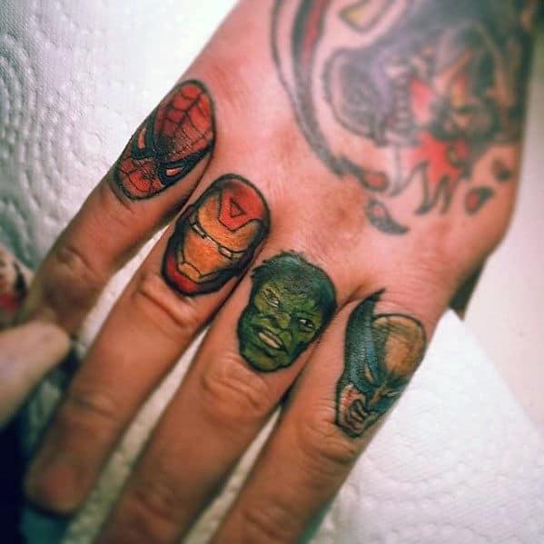 Knuckle Finger Guys Marvel Superhero Tattoos