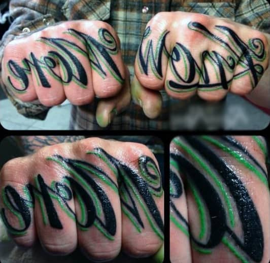 Knuckle Tattoo Phrases For Guys