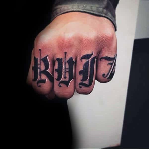 Knuckles Last Name Guys Tattoos