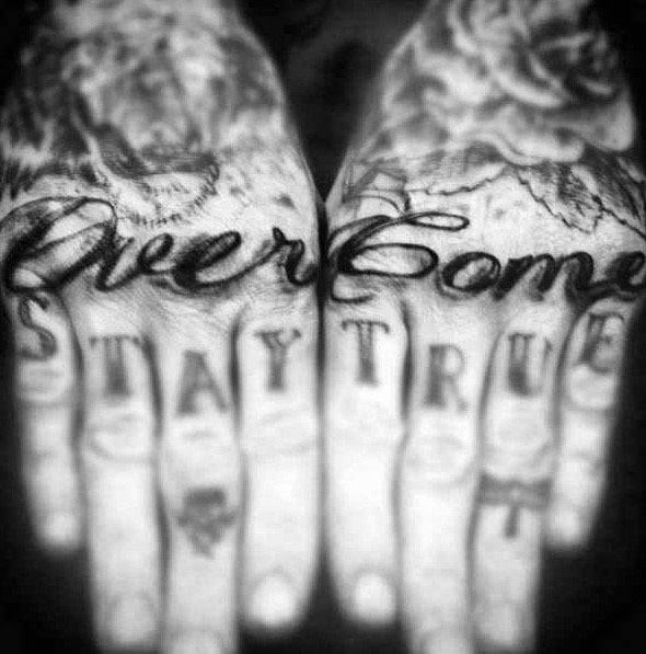 Knuckles Mens Overcome Tattoo Ideas