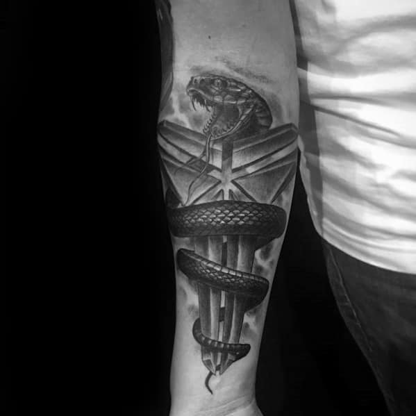Kobe Bryant Symbol With Snake Guys Tattoo Ideas On Inner Arm Bicep