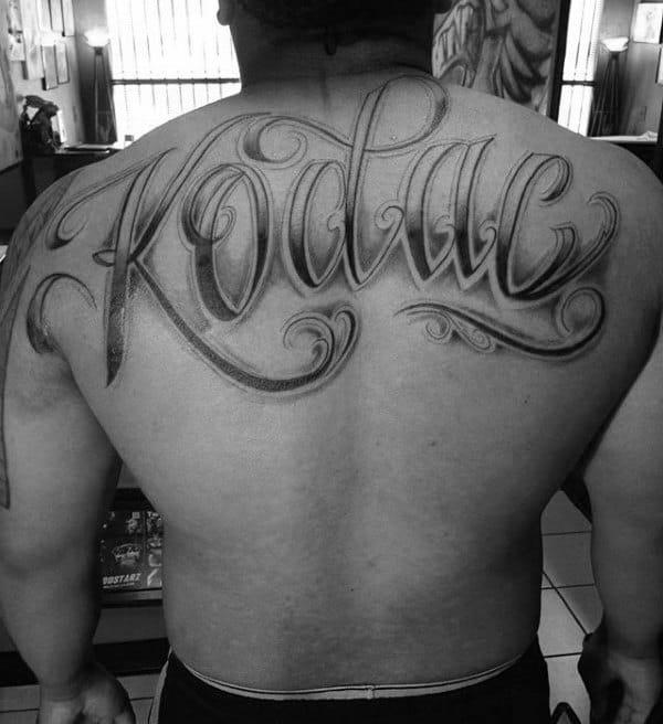 Kodac Mens Ornate Script Name Back Tattoo
