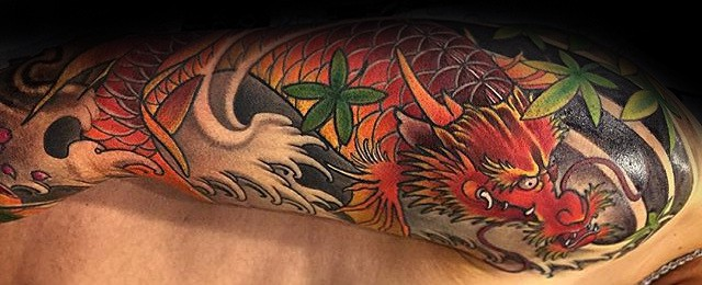 Koi Dragon Tattoo Designs For Men