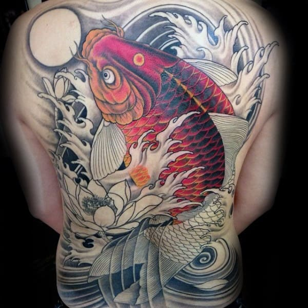 Koi Fish Chinese Guys Full Back Tattoos