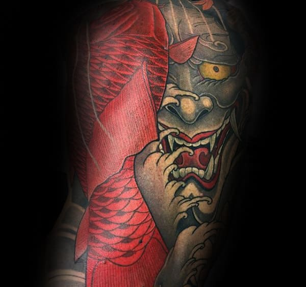 Koi Fish Hannya Mask Mens Full Back Tattoos