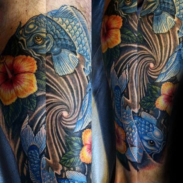 Koi Fish Mens Hibiscus Arm Tattoo