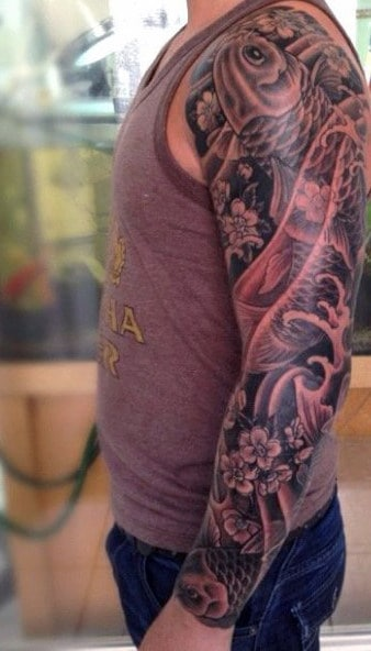 Koi Fish Shoulder Tattoo For Men