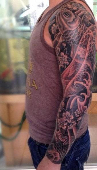 Koi Fish Shoulder Tattoo For Men