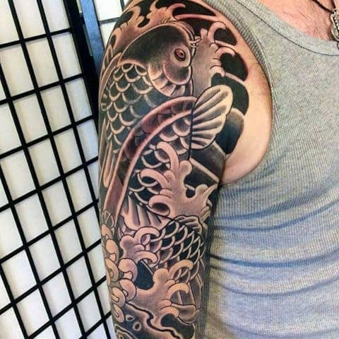 50 koi fish tattoo designs for men japanese symbol of for Black koi fish meaning