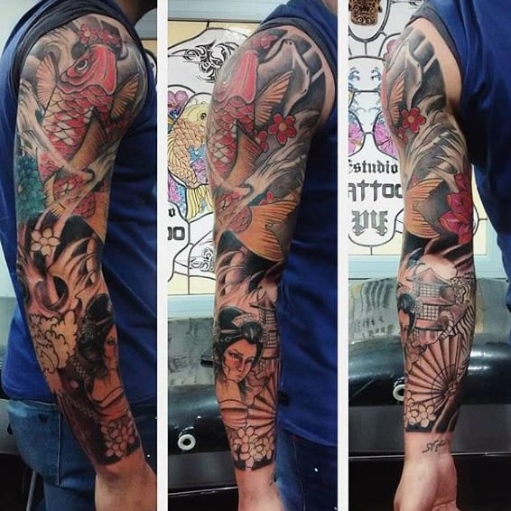 Koi Fish Tattoo Half Sleeve For Men