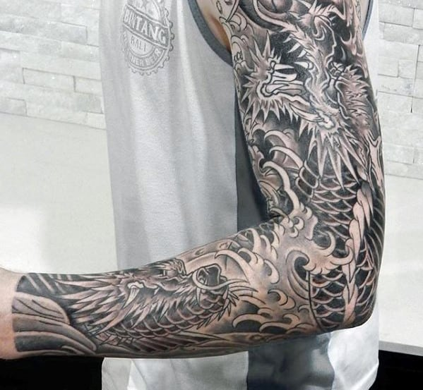 Koi Fish With Dragon Guys Sleeve Arm Japanese Tattoo Designs