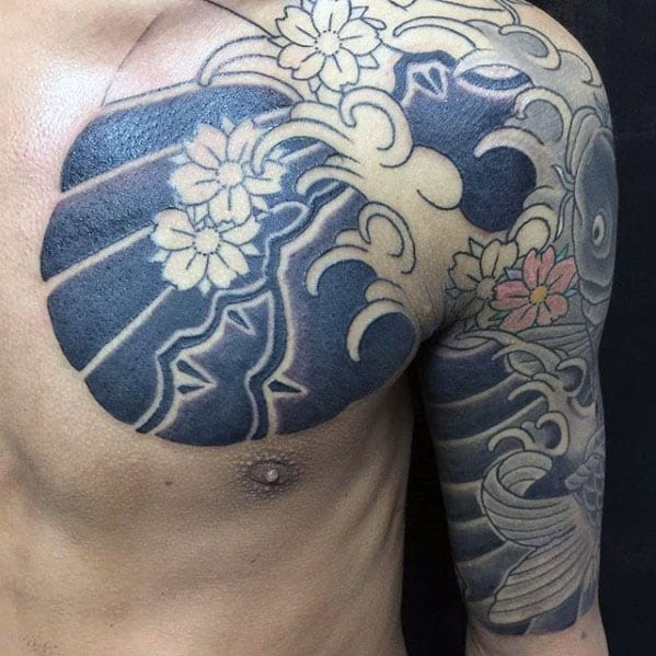 Koi Fish With Water And Flowers Half Sleeve Japanese Tattoos For Males
