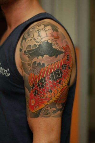 Koi Half Sleeve Shoulder Tattoo