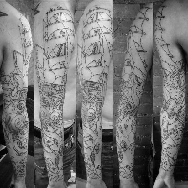 Kraken And Sailing Ship Guys Old School Sleeve Tattoo Inspiration