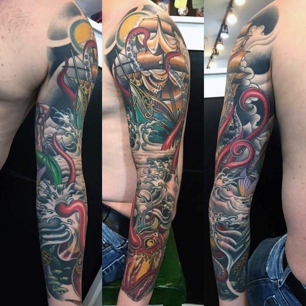 Kraken Male Full Sleeve Tattoo Ideas