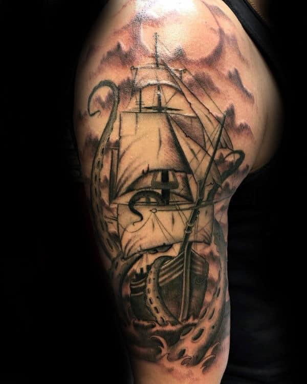 Kraken Male Upper Arm Tattoo Designs