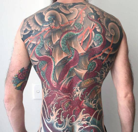 Kraken Octopus Guys Full Back Japanese Tattoo Designs