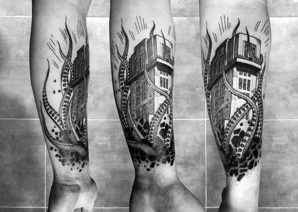 Kraken Sinking Building Mens Forearm Tattoos