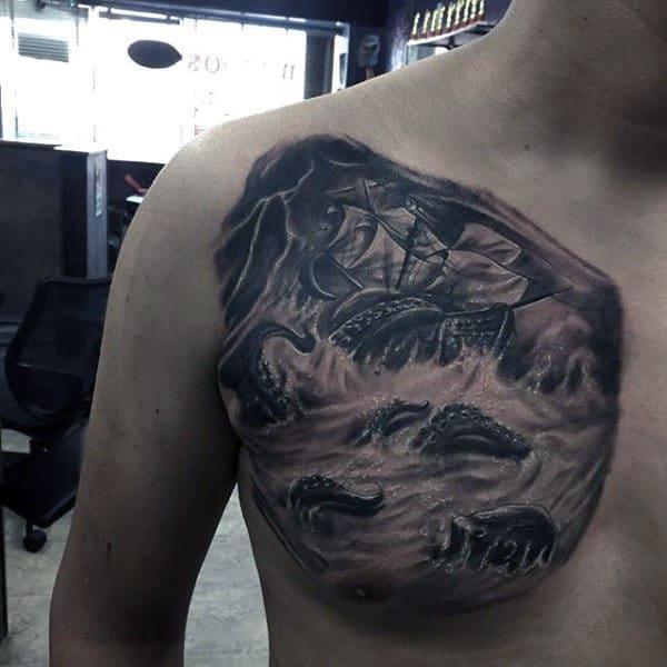 Kraken Sinking Ship Detailed Chest Tattoos For Guys