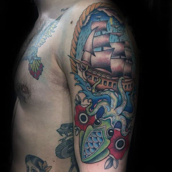 Kraken Traditional Guys Upper Arm Ship Tattoos