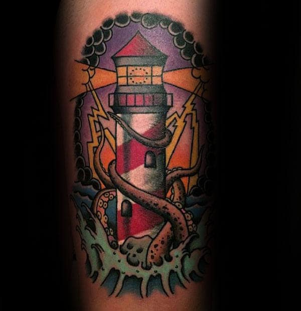 kraken-traditional-lighthouse-mens-arm-tattoos