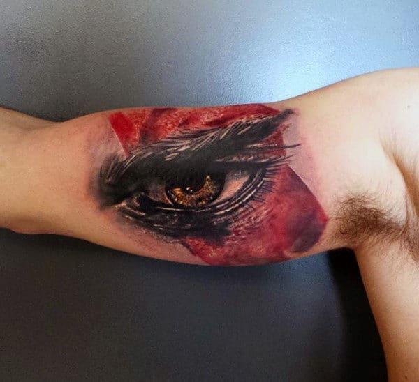 Kratos Inner Arm Bicep Tattoos For Guys With Eye Design