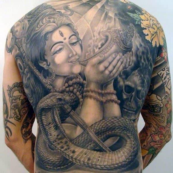 Krishna Blowing Conch Tattoo Full Back For Men