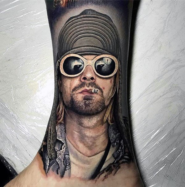 Kurt Cobain Realistic 3d Leg Sleeve Guys Nirvana Tattoos