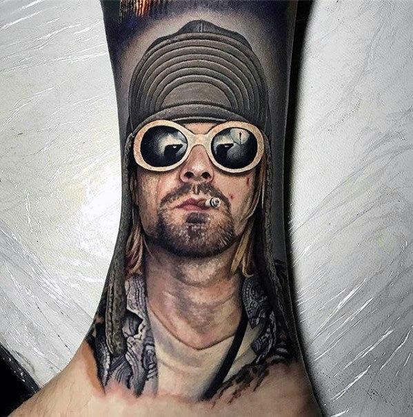 Kurt Cobain Realistic 3d Leg Sleeve Guys Nirvana Tattoos
